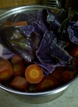 Boiled Red Cabbage and Carrots for Fat Free Red Cabbage, Carrot and Pea Soup
